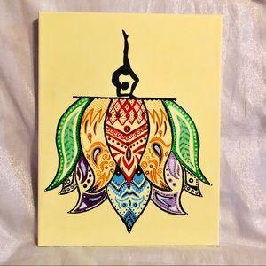 Rainbow Lotus Mandala Yogi silhouette Painting